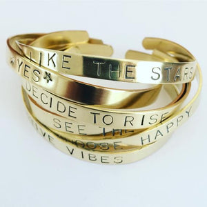 Stuff Made From Things Gold Brass Positive Cuffs - Sands Boutique clothing and gifts