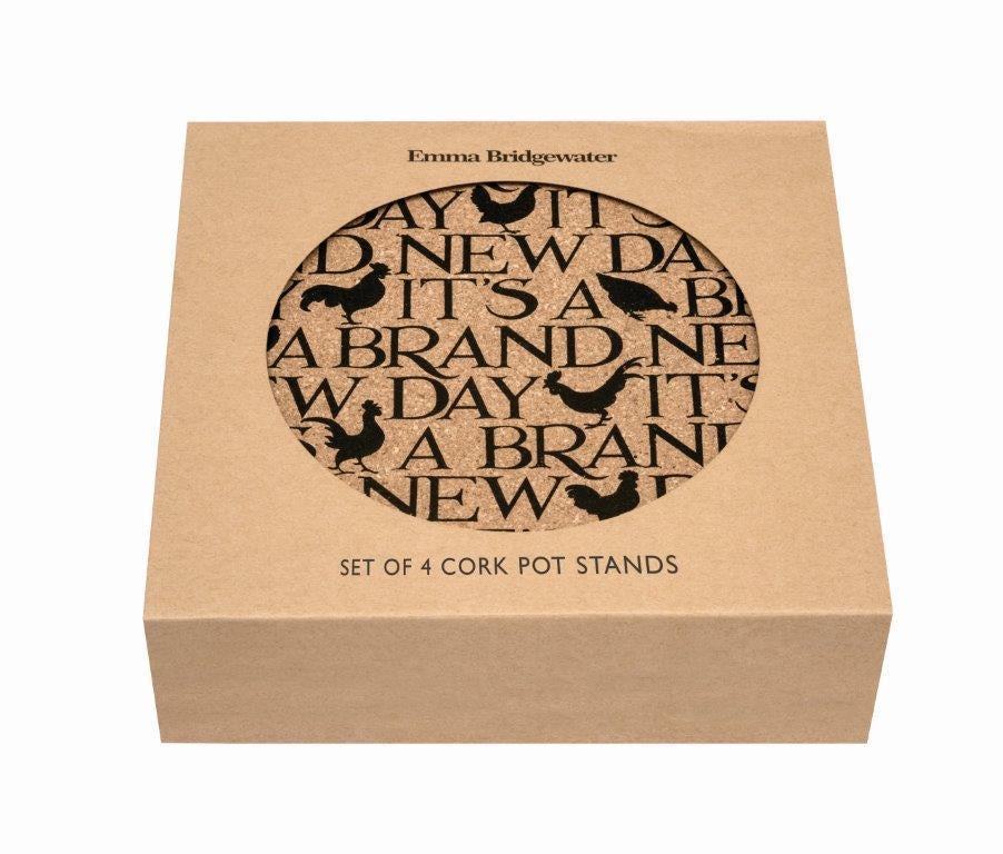 Emma Bridgewater Black Toast 'New Day' Set of Sustainable Cork Mats - Sands Boutique clothing and gifts