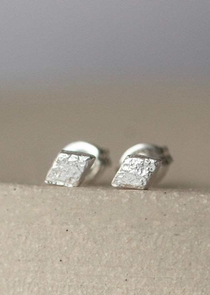 Handmade Sterling Silver Mini Diamond Studs