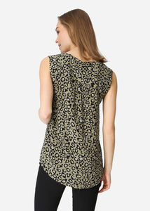 Soya Concept Vela Khaki Animal Print Top - Sands Boutique clothing and gifts