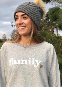 Hell Yeah! 'Family' Slogan Organic Cotton Sweatshirt - Grey