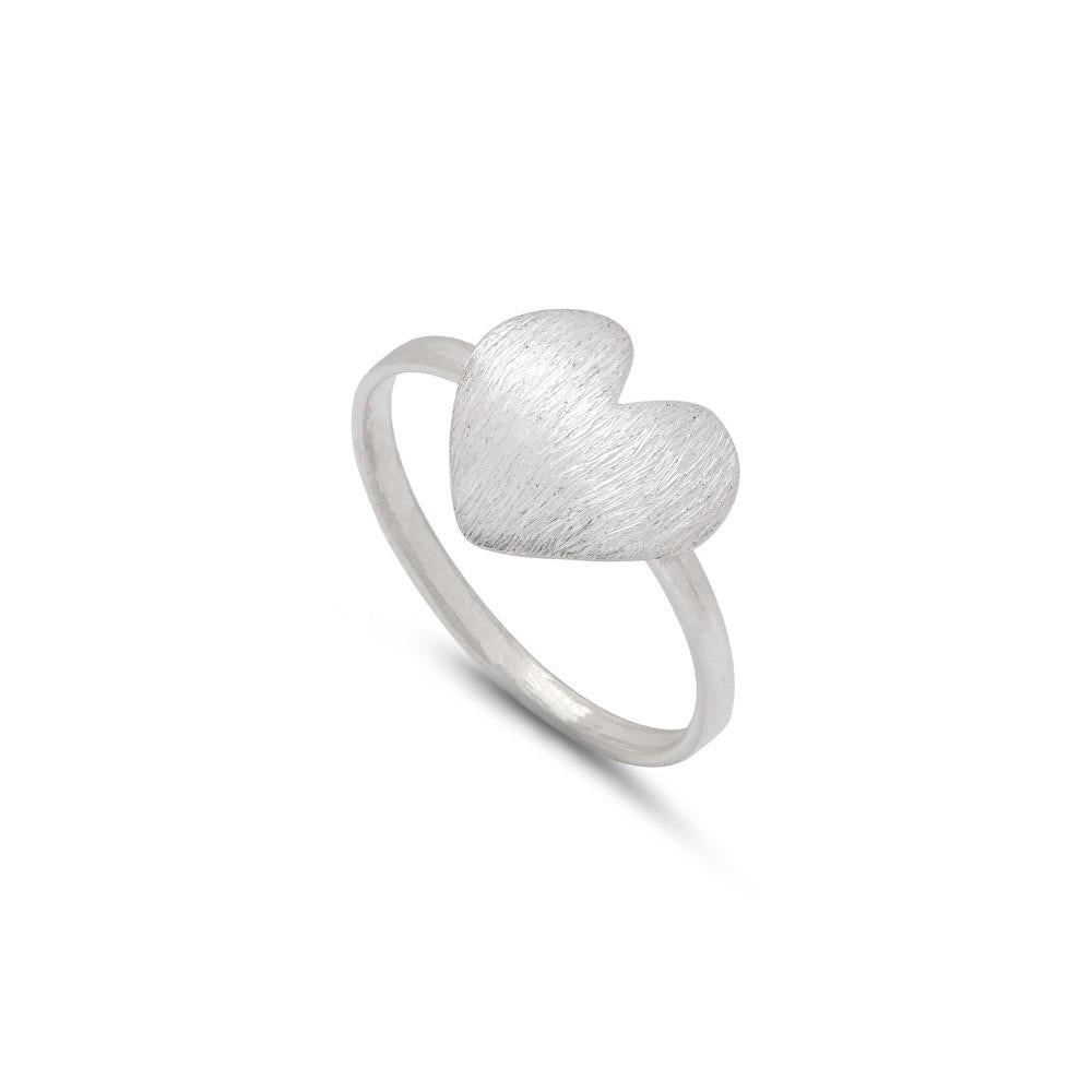 Sands Silver Brushed Heart Ring - Sands Boutique clothing and gifts