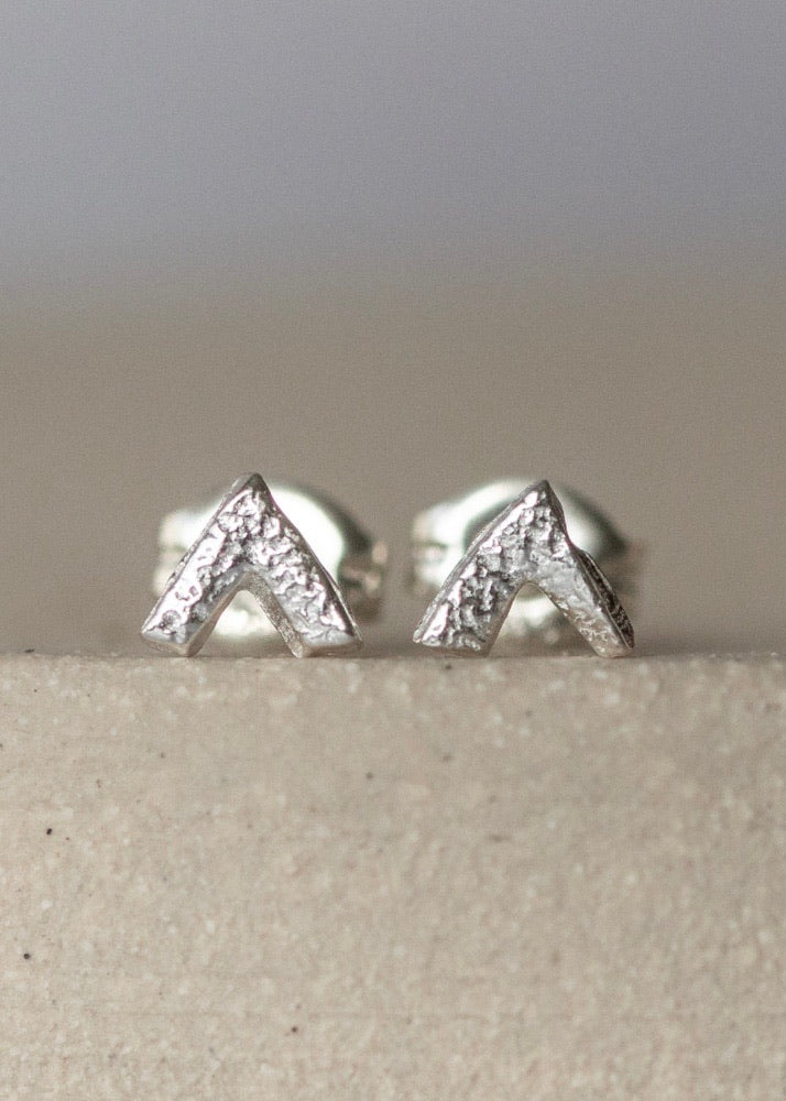 Handmade Sterling Silver Mini Chevron Studs