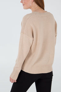 Cream V Neck Essential Jumper - Sands Boutique clothing and gifts