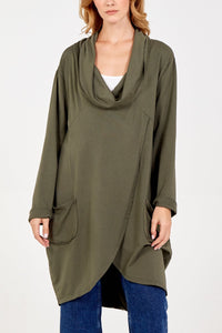 Sands Cowl Neck Asymmetric Two Pocket Top