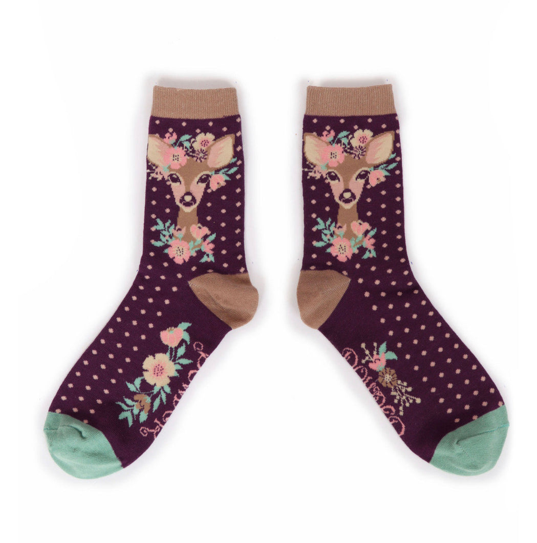 Powder Floral Deer Ankle Sock