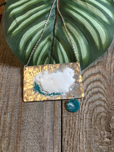 Marlo St Ives - Silver, White & Turquoise Enamel Necklace - Sands Boutique clothing and gifts