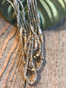 Envy Cream and Gold and Multi Strand Cristal Stone Short Necklace - Sands Boutique clothing and gifts