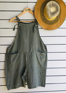 Sands - Striped LInen Short Dungarees