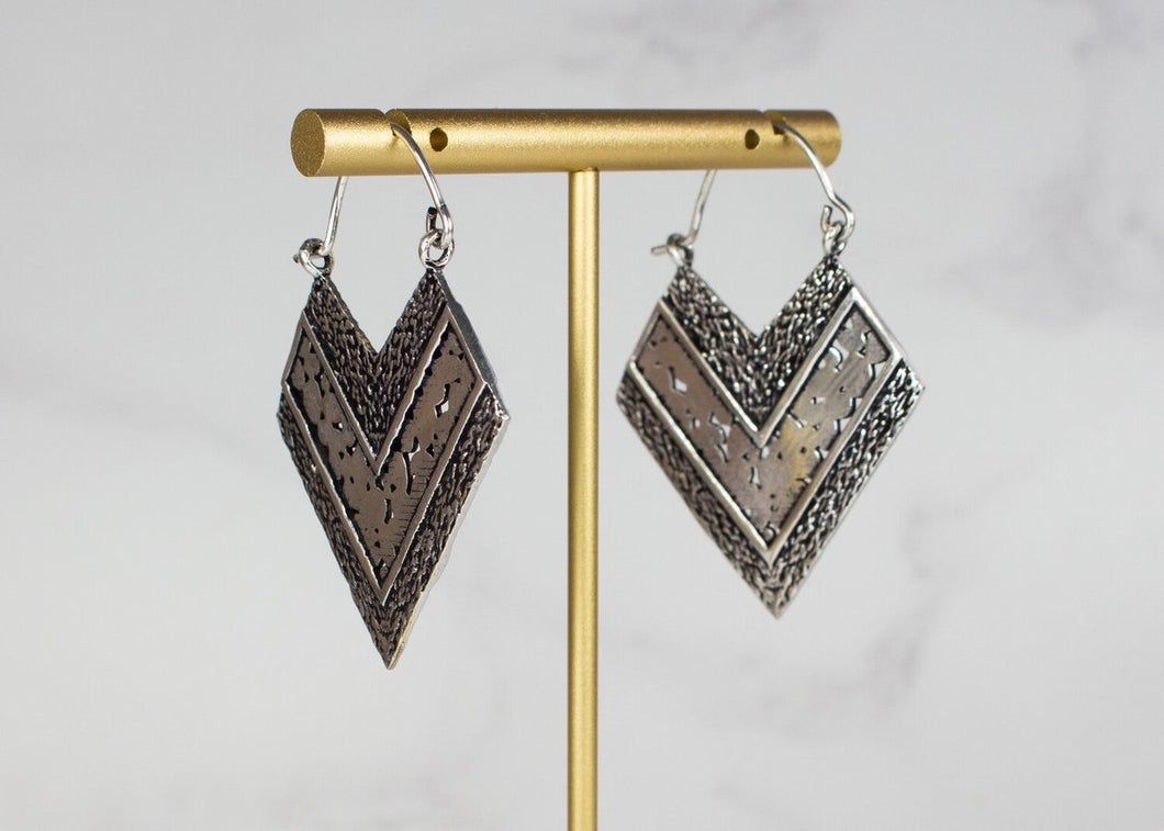 My Doris - Silver Triangle Earrings