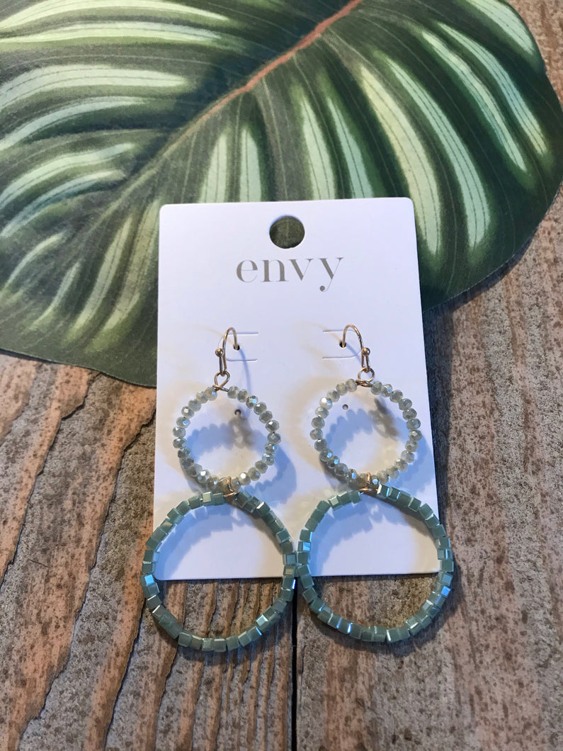 Envy Mint Stone Double Hoop Earrings - Sands Boutique clothing and gifts