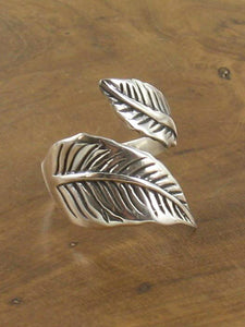 Silver Adjustable Leaf Ring