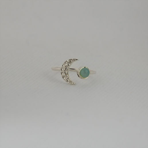 Silver Moon Ring Aqua Chalcedony - Sands Boutique clothing and gifts