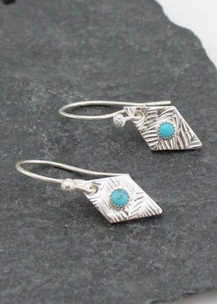 Lucy Kemp Silver Tribe Diamond Turquoise Earrings