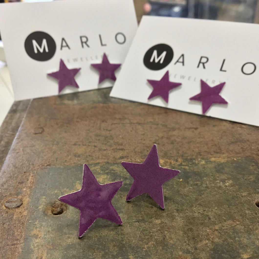Marlo St Ives - Star Studs in Plum