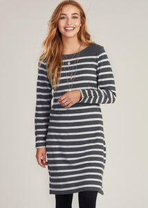 Hatley Zoe Dress - Charcoal Melange Stripes