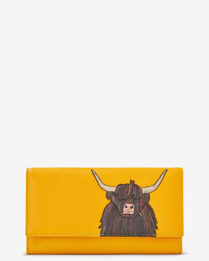 Yoshi Highland Cow Flap Over Leather Purse