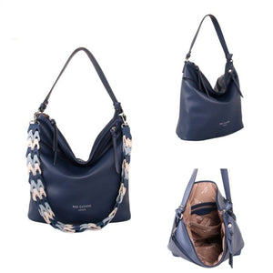 Red Cuckoo Navy Shoulder Bag with Contrast Strap