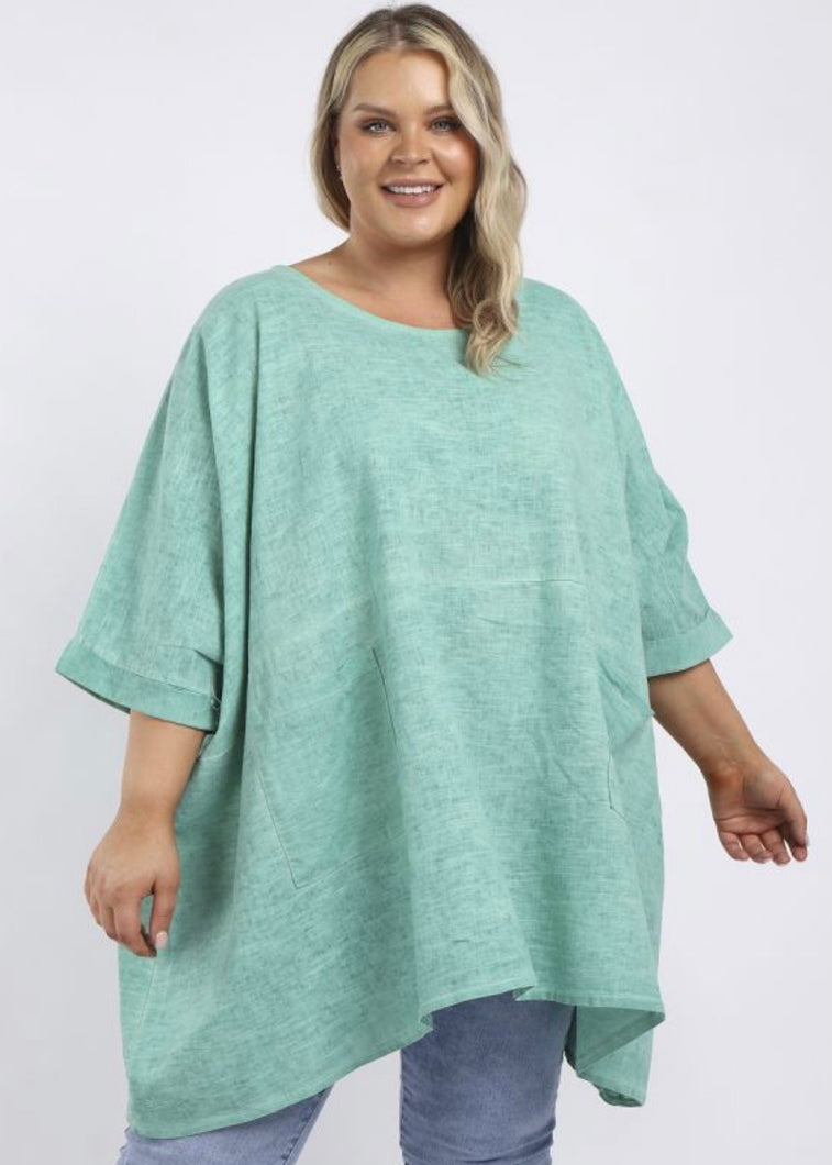Sands - Made in Italy Aria Oversized Wash Linen Top