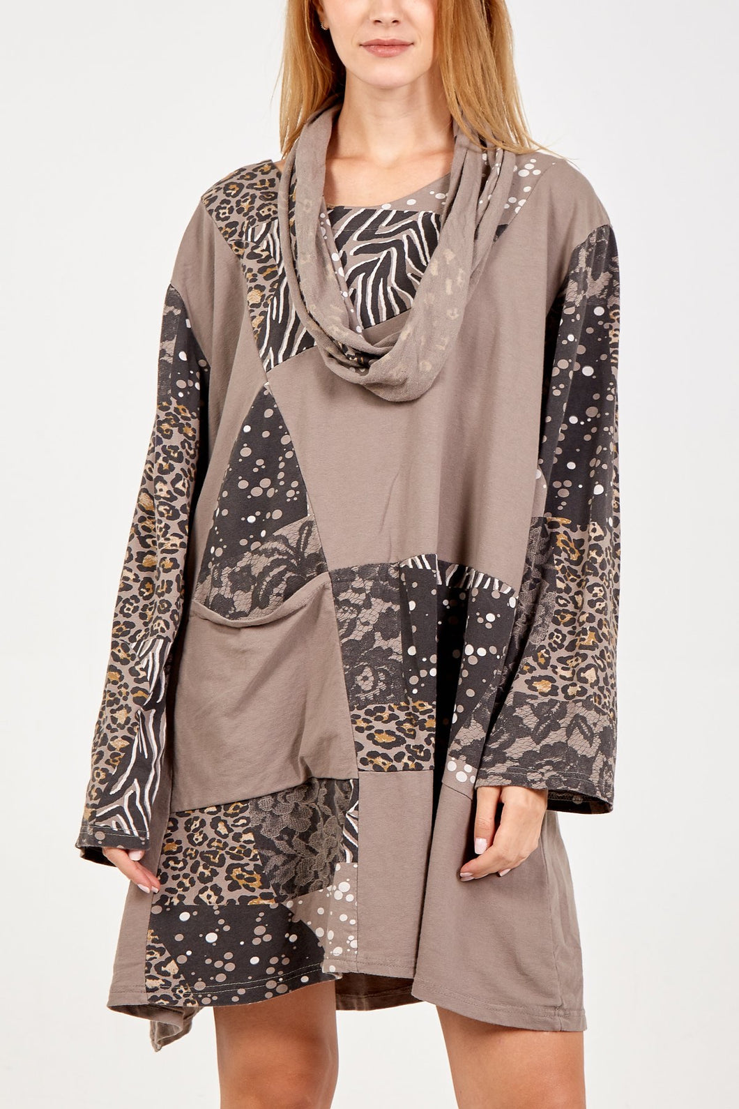 Sands Animal Print Tunic with scarf available in Mocha or Navy