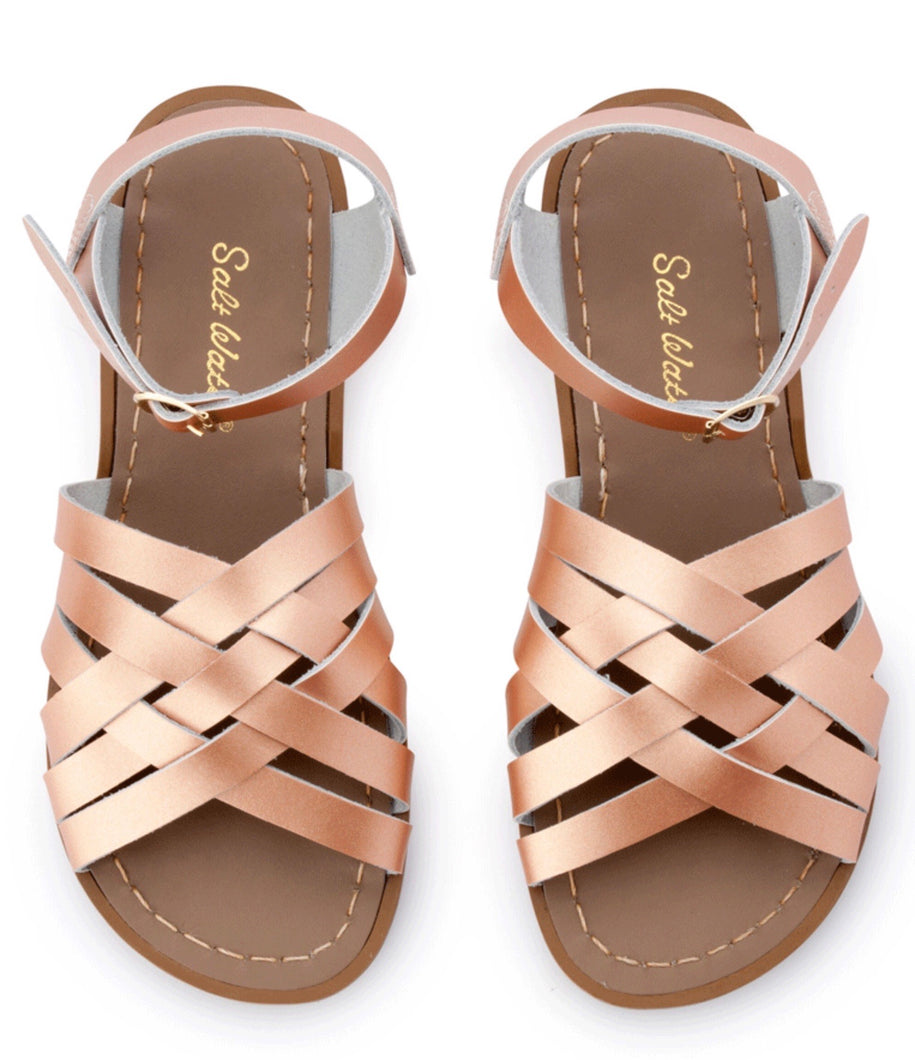 Salt-Water - Retro Rose Gold Leather Sandals - Sands Boutique clothing and gifts