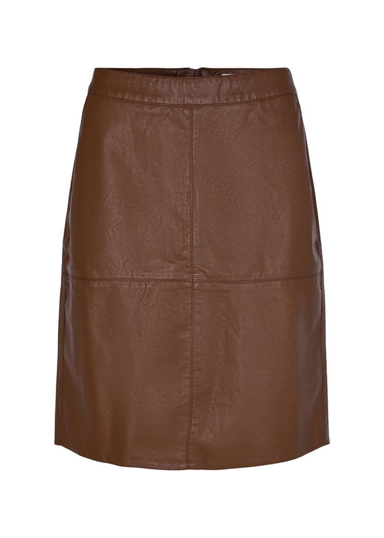 Soyaconcept - Gunilla Vegan Leather Skirt in Tan