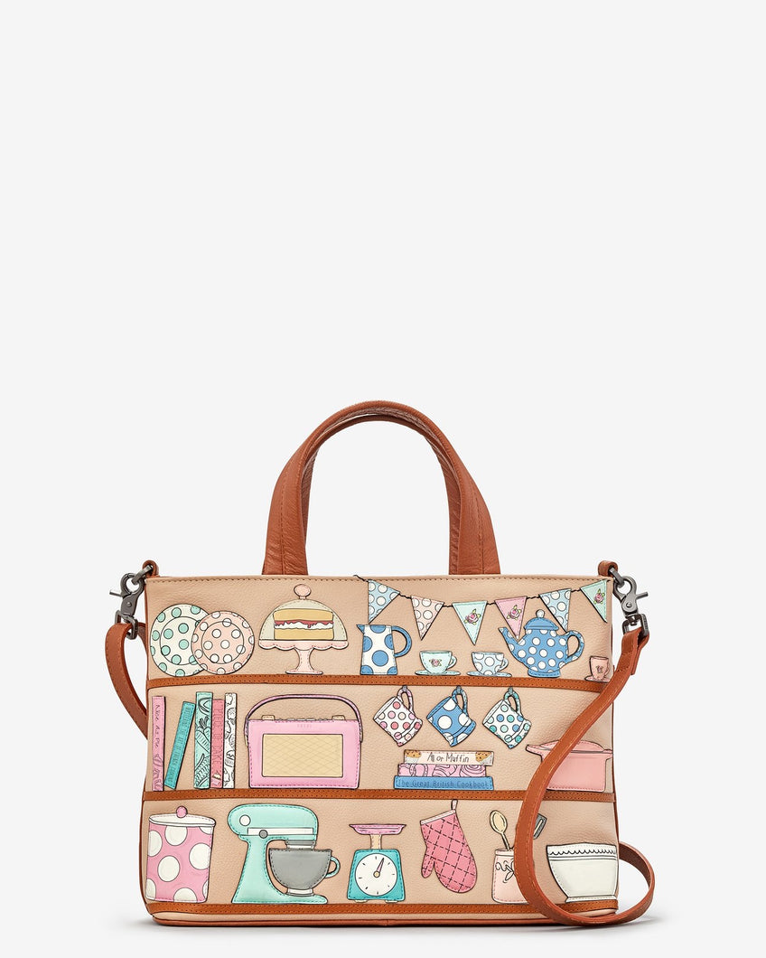 Yoshi Leather Perfect Pantry Tan Leather Multiway Grab Bag