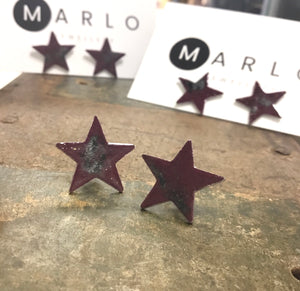 Marlo St Ives - Star Studs in Aubergine Mottled