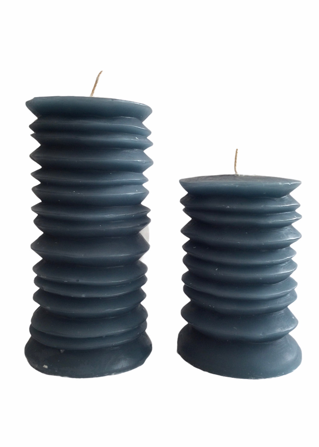 Broste - Circle Pillar Candles in Nordic Blue