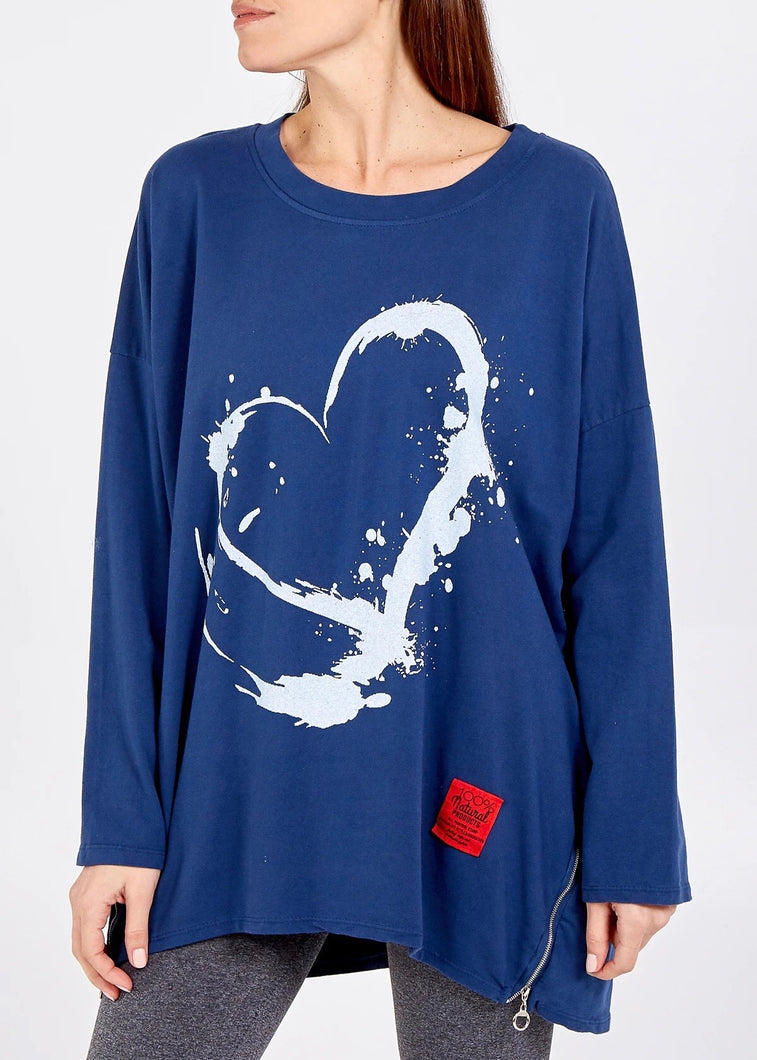 Made In Italy Splash Hearts Tunic - 7 Colours