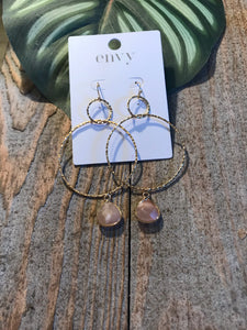Envy Fine Gold Hoops With Encased Soft Coral Stone Earrings - Sands Boutique clothing and gifts