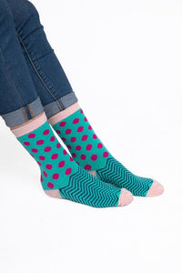 Miss Sparrow Polka Dots and Chevrons Socks Blue