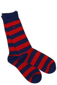 Swole Panda Men's Red Striped Bamboo Socks - Sands Boutique clothing and gifts