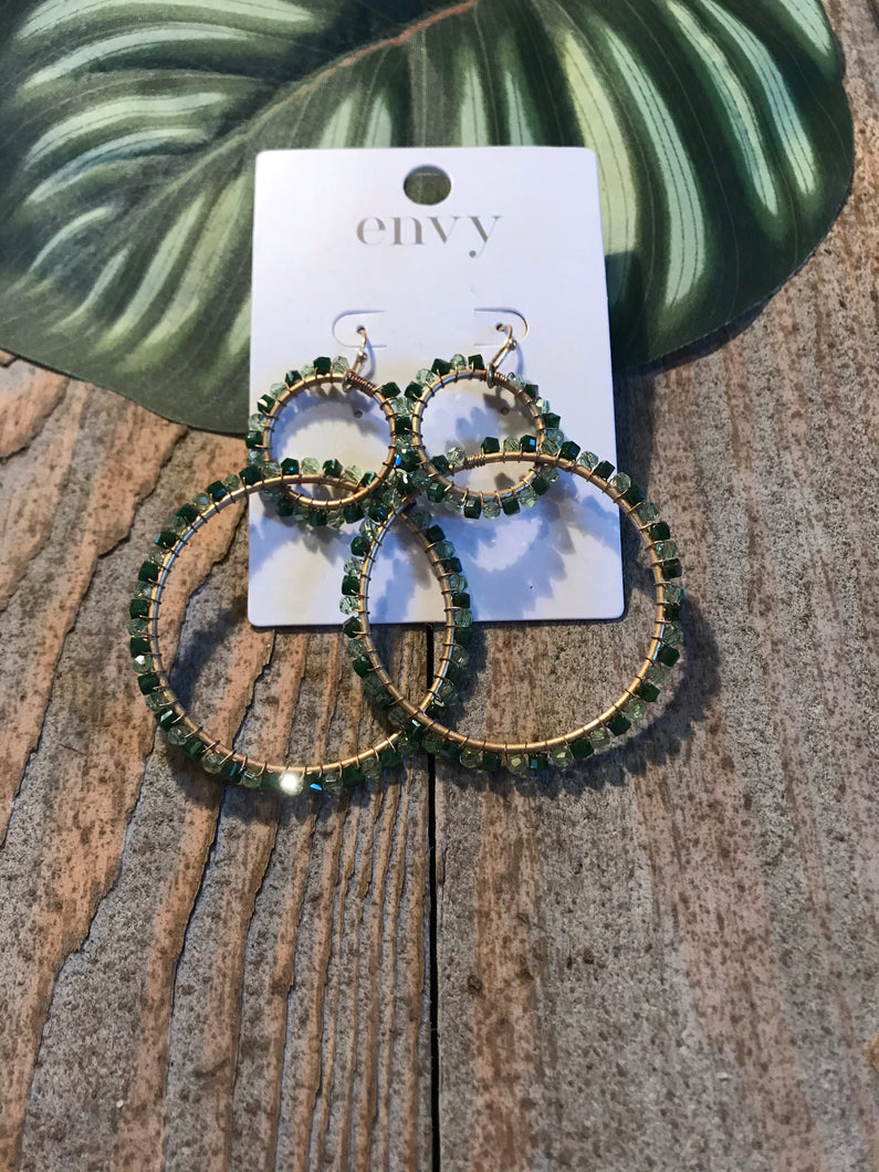 Envy Large Green Stone Embedded Double Hooped Earrings - Sands Boutique clothing and gifts