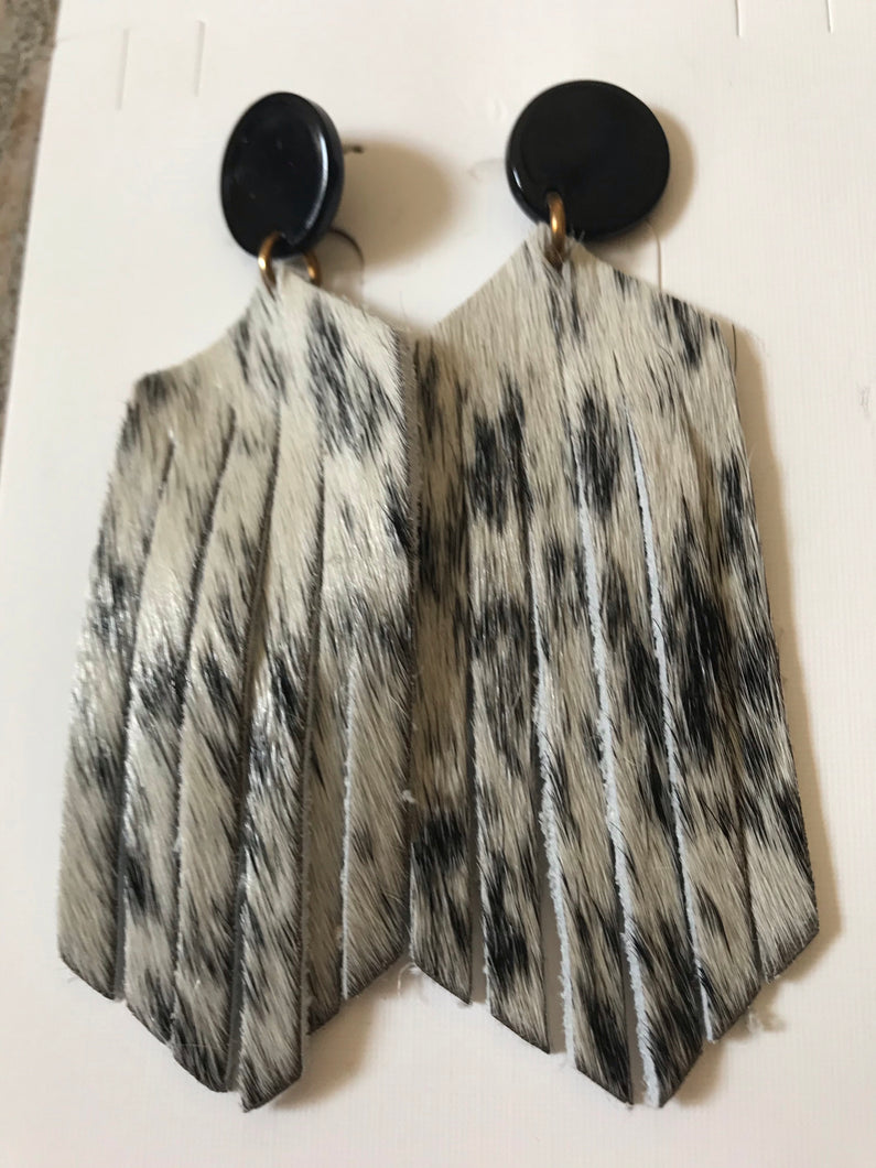 Bella Boo Leather Animal Print Earrings Style 1