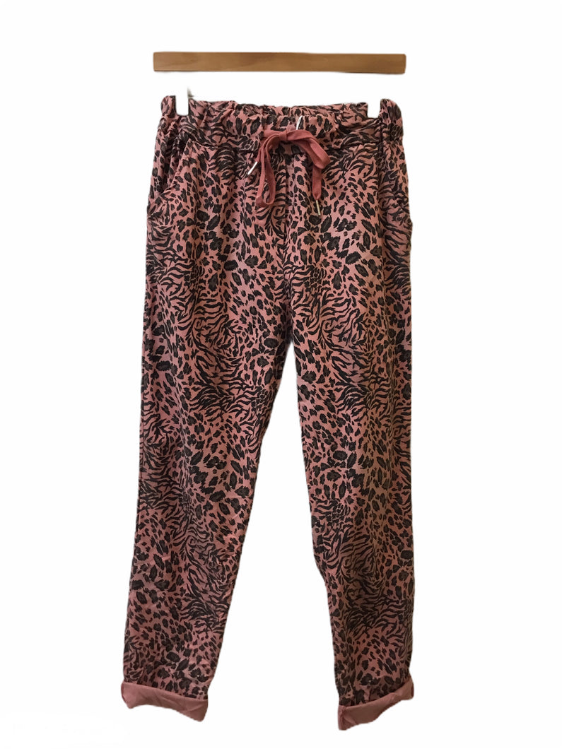 Sands - Stretch Casual Trousers in Animal Print