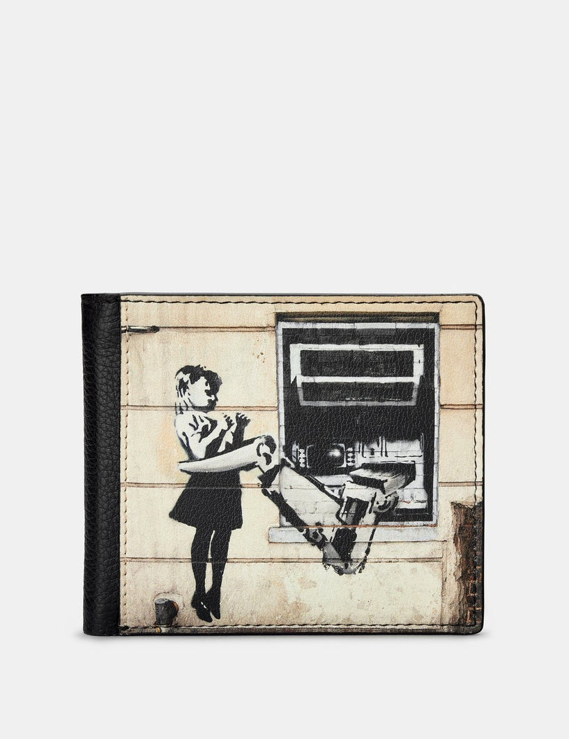 Yoshi Leather Banksy Cash Machine Black Leather Wallet
