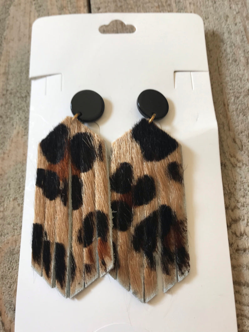 Bella Boo Leather Animal Print Earrings Style 2