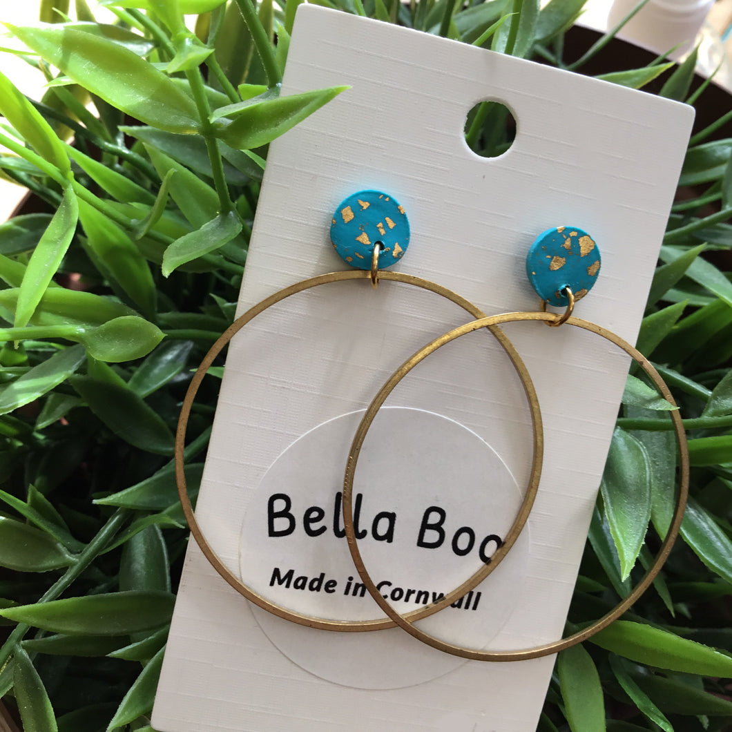 Bella Boo - Gold Tone Hoops with Turquoise & Gold Studs