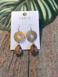 Envy Filigree Circle With Encased  Natural Stone - Sands Boutique clothing and gifts