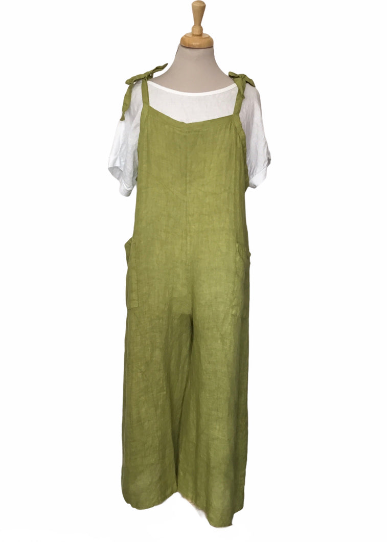 Sands - Made in Italy Tie Top Linen Dungarees (9 Colours)
