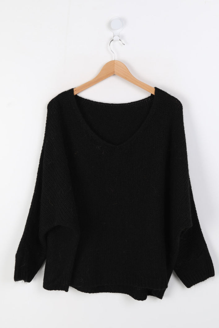 Black Mohair Mix Sweater