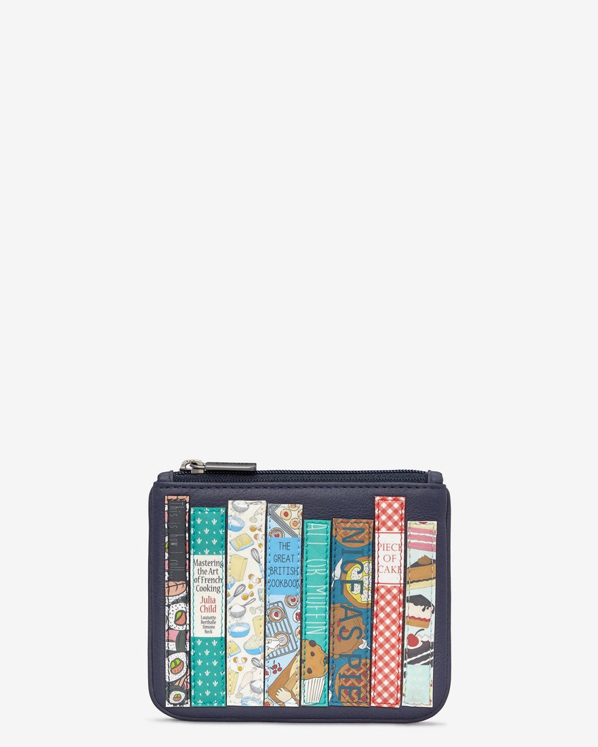 Yoshi Navy Bookworm Leather Caxton Purse