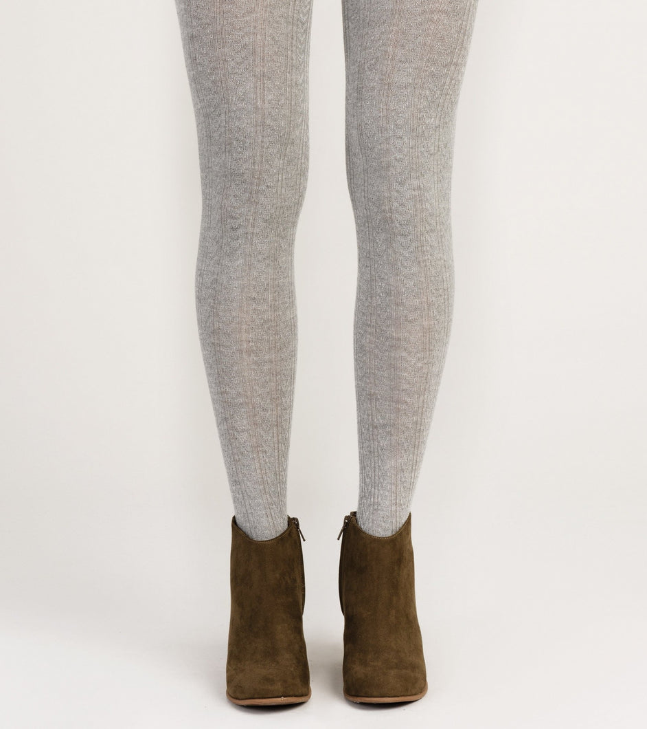Hatley Cable Knit Tights - light grey Melange - Sands Boutique clothing and gifts