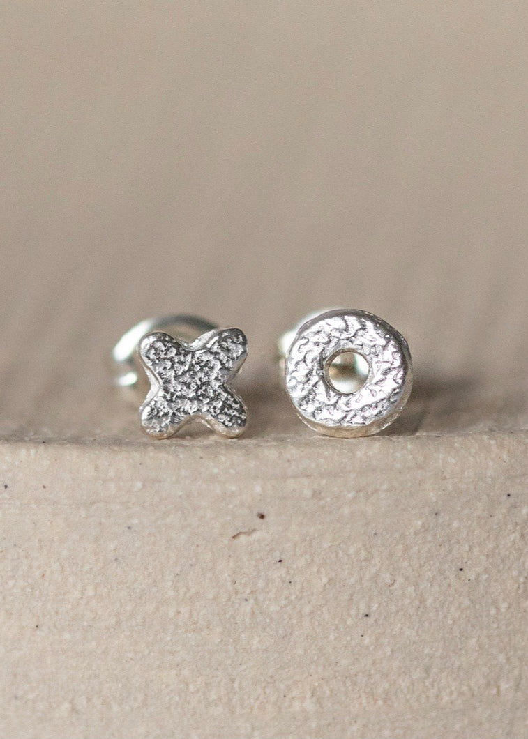 Lucy Kemp Mini Hugs & Kisses Silver Studs