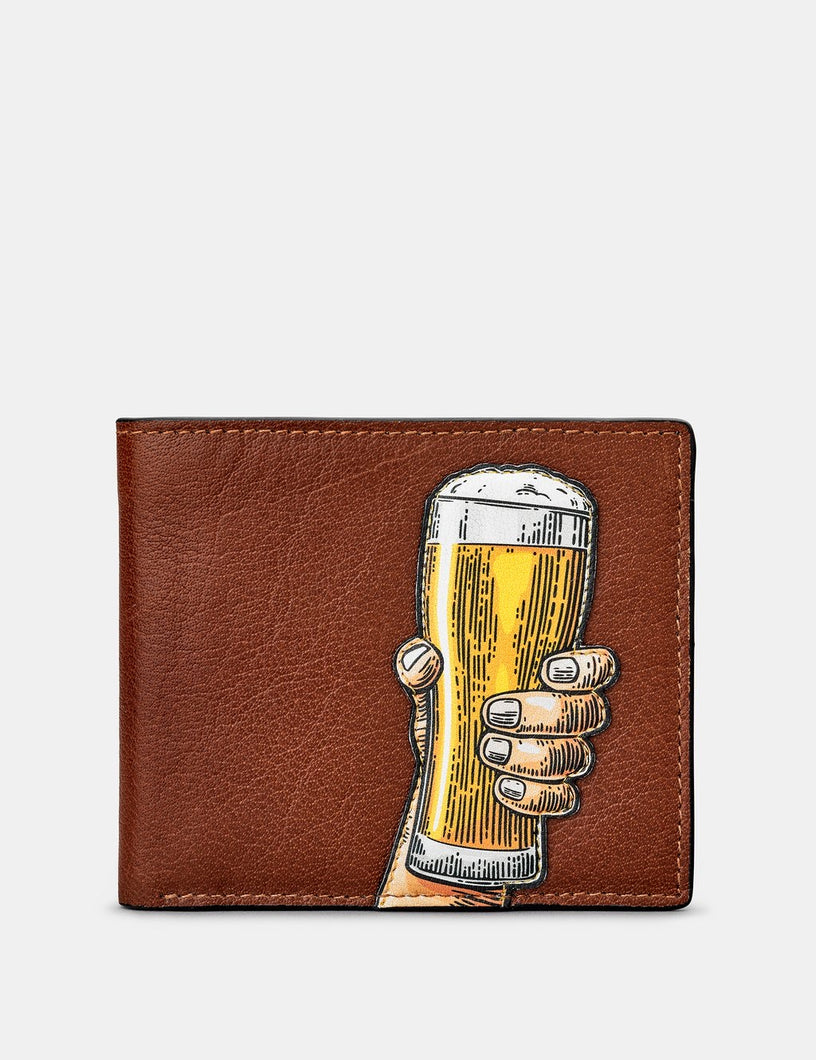 Yoshi Leather Glass of Beer Leather Wallet