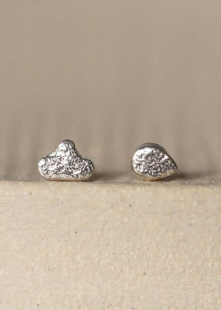 Handmade Sterling Silver Mis-Match Mini Cloud and Raindrop Studs