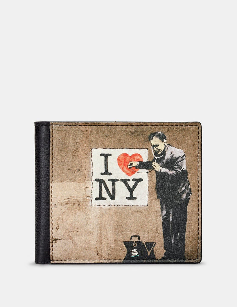 Yoshi Leather Banksy NY Black Leather Wallet
