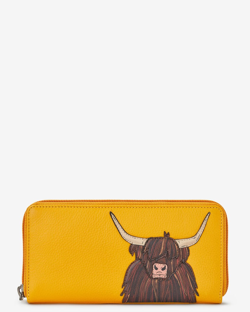 Yoshi Highland Cow Zip Round Leather Purse