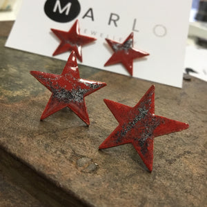 Marlo St Ives - Star Studs in Pillar Box Red Mottled